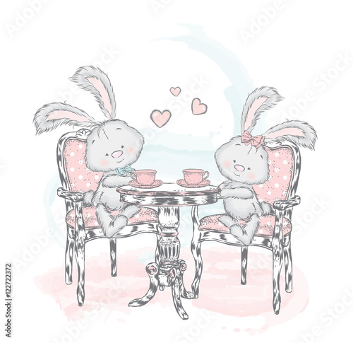 Fototapeta Cute Bunny at the table drinking tea. Rabbits. Vector illustration for greeting card, poster, or print on clothes.