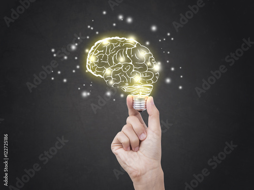 lightbulb brainstorming creative idea abstract icon on business hand Poster