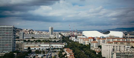 Marseille - panorma avec vue du nouveau Stade Velodrome