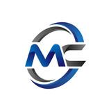Simple Modern Initial Logo Vector Circle Swoosh mc - 122731345