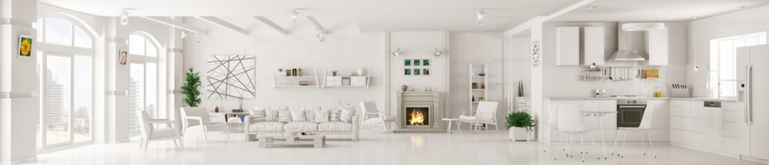 Interior of white living room panorama 3d rendering © Vadim Andrushchenko
