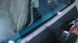 Man open the door of electric car