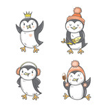 Cute cartoon penguins set. Four arctic birds. Funny animals. Winter season. Vector contour colorful image. Children