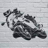 Art urbain, moto prenant une courbe - 122747397