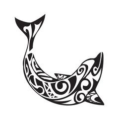 Dolphin tattoo in Maori style. Vector illustration EPS10