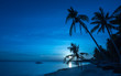 Tropical beach background of night view from Dumaluan Beach at P