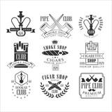 Smoke Shop Vintage Black And White Emblems.