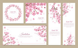 Set of greeting cards, banners and invitation card with blossom sakura flowers. - 122760907