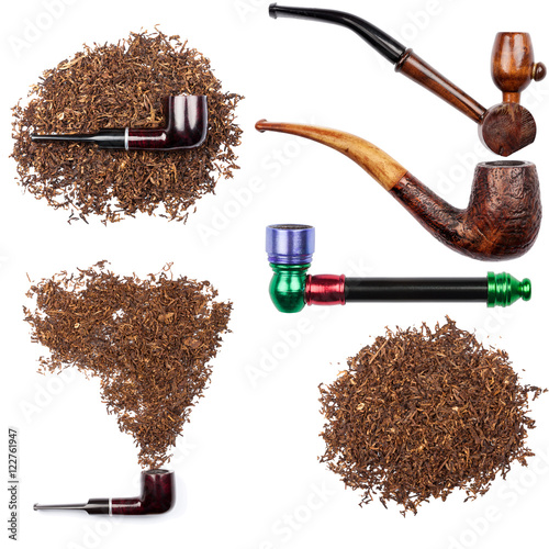 Poster Collection of smoking pipes and tobacco