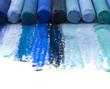 blue artistic crayons