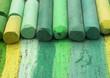 green artistic crayons