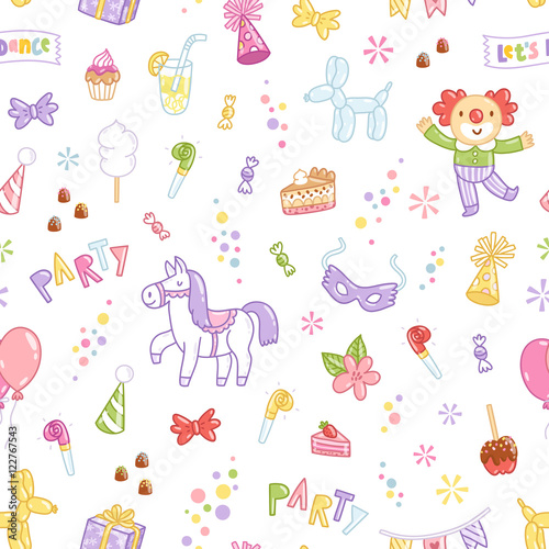 Cotton fabric Kids party seamless pattern
