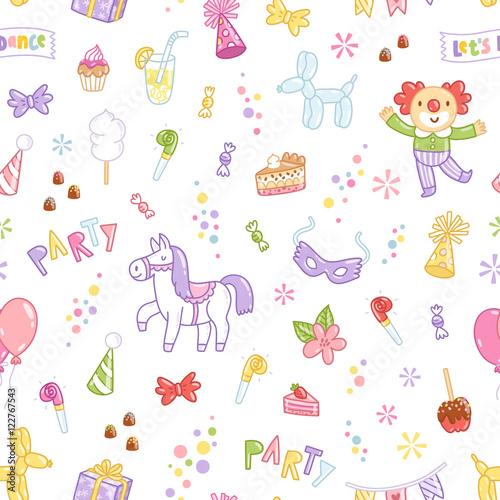 Cotton fabric Kids party seamless pattern