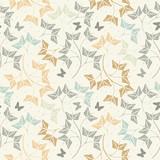 Seamless pattern with cute butterflies and leaves