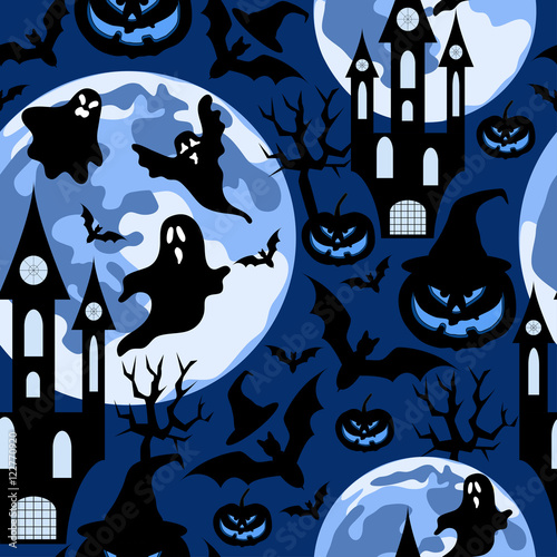 Materiał do szycia Halloween background with ghost,dark castle and moon.Seamless vector pattern.Halloween holiday