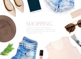 fashion blogger concept.  set of Feminine accessories on white background - 122776797