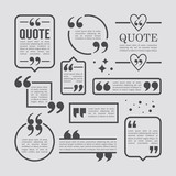 Modern block quote and pull quote line frame design elements. Cr