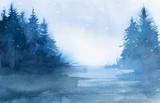 Fototapety Winter landscape. Watercolor landscape illustration. Christmas b