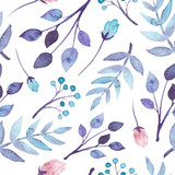 Seamless Pattern With Watercolor Blue And Violet Leaves - 122804107