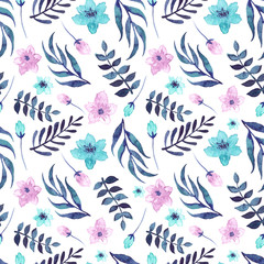 Seamless Pattern With Watercolor Blue And Pink Flowers