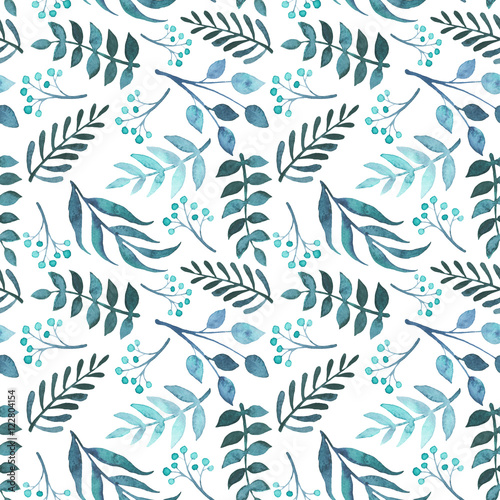 Watercolor Green And Blue Leaves Repeat Pattern - 122804154