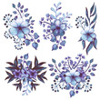 Collection Watercolor Bouquets With Blue And Violet Flowers