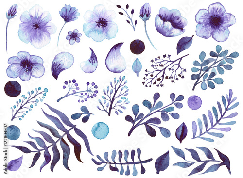 zestaw-akwarela-fioletowe-kwiaty-liscie-i-elementy