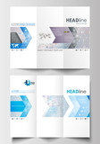 Tri-fold brochure business templates on both sides. Easy editable abstract layout in flat design. Molecule structure. Science healthcare background, medical vector.