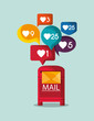 mail message envelope with communication icons image vector illustration design