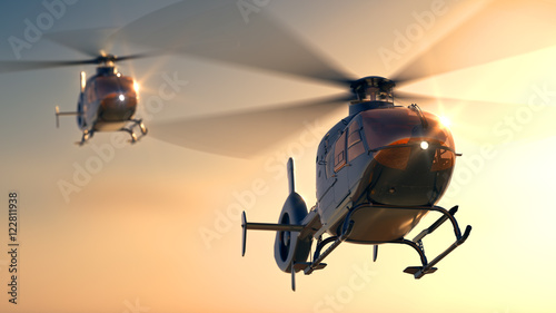 Plakat Helikoptery Sunset Flight