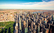 Aerial view of Columbus Circle and Central Park in NY City