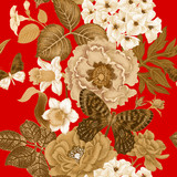 Seamless pattern with peonies, roses, daffodils, hydrangeas and