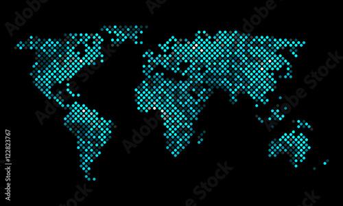Staande foto Wereldkaart Colorful vector pixel world map