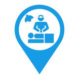 Icono plano localizacion cirujano azul