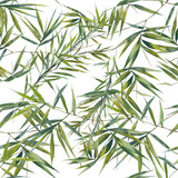 Watercolor illustration of bamboo leaves , seamless pattern on white background - 122839144