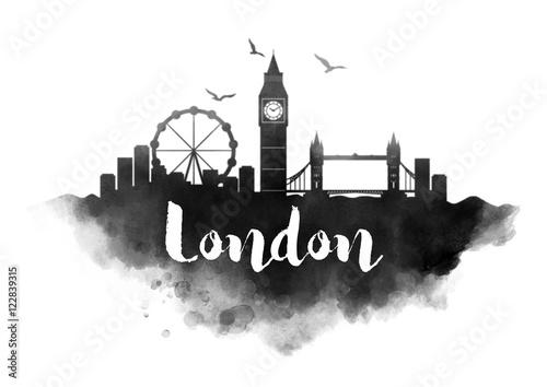 Watercolor London City Skyline