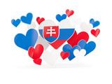 Flag of slovakia, heart shaped stickers