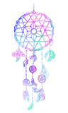 Hand-drawn with ink dreamcatcher with feathers. Ethnic illustration, tribal, American Indians traditional symbol. Hipster boho chic vector Talisman Isolated on white