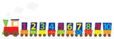 Pociąg z cyframi 1-10, ilustracja edukacyjna dla dzieci