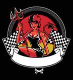 sexy devil wearing motorcycle helmet