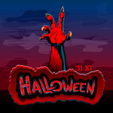 Halloween background with rising zombie hand at night; Title of the evil spirits holiday is written on a stone plate; Hatching vector Eps10