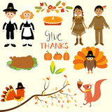 Happy Thanks giving with pilgrim  and red indian costume childre
