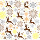 snowflakes and deer seamless pattern