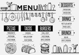 Fototapety Menu restaurant, food template placemat.