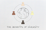 diversity in the workplace: multi ethnic team illustration (eart