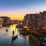 Grand Canal view from Rialto Bridge at sunset, Venice, Italy - 122875917
