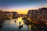 Grand Canal view from Rialto Bridge at sunset, Venice, Italy - 122875940