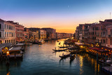 Grand Canal view from Rialto Bridge at sunset, Venice, Italy - 122875977