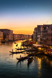 Grand Canal view from Rialto Bridge at sunset, Venice, Italy - 122875993