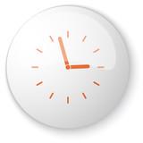 Glossy white web button with orange Clock icon on white backgrou